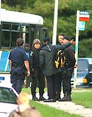 """Silver Spring, MD - October 22, 2002 -- Police discuss their strategy in a park across from where a 40 year-old man was shot by an unknown gunman.  Police are treating the shooting as if it was by the """"Beltway Sniper"""".<br /> Credit: Ron Sachs / CNP <br /> (RESTRICTION: NO New York or New Jersey Newspapers or newspapers within a 75 mile radius of New York City)"""