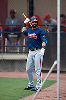 Atlanta Braves third baseman Jose Bautista (1) warms up on deck during a Minor League Extended Spring Training game against the Philadelphia Phillies on April 20, 2018 at Carpenter Complex in Clearwater, Florida.  (Mike Janes/Four Seam Images)