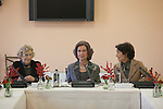 Queen Sofia of Spain (C) and Madrid Mayor Manuela Carmena (L) attend the Reina Sofia Music School board meeting in Madrid, Spain. December 11, 2015. (ALTERPHOTOS/Victor Blanco)