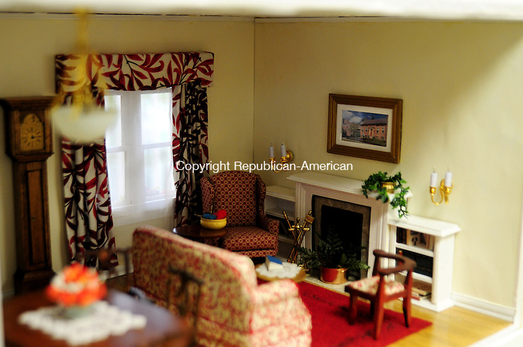 PLYMOUTH, CT, 04 OCT 12-100412AJ07- Nancy Henderson made the couch and created this living room in a dollhouse that will be raffled off to raise money for the Terryville Public Library in December. Alec Johnson/ Republican-American