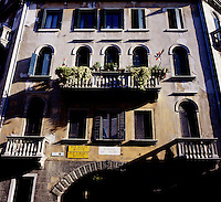 A building facade in Venice, Italy in summer 2007.