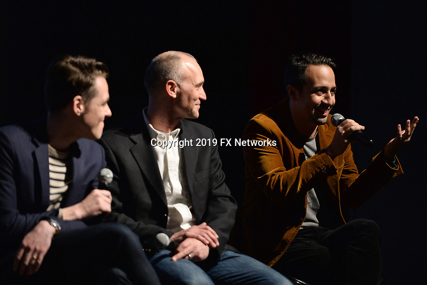 "NEW YORK - APRIL 7: (L-R) Steve Levenson, Joel Fields and Lin-Manuel Miranda attend a Q&A after the screening of FX's ""Fosse Verdon"" presented by FX Networks, Fox 21 Television Studios, and FX Productions at the Museum of Modern Art on April 7, 2019 in New York City. (Photo by Anthony Behar/FX/PictureGroup)"