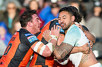 Picture by Allan McKenzie/SWpix.com - 11/02/2018 - Rugby League - Betfred Super League - Castleford Tigers v Widnes Vikings - the Mend A Hose Jungle, Castleford, England - Widnes's Krisnan Inu is tackled by Castleford's Grant Millington & Alex Foster.