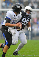 12 September 2015:  Penn State DT Austin Johnson (99) watches the quarterbacks eyes and drops into pass coverage. The Penn State Nittany Lions defeated the Buffalo Bulls 27-14 at Beaver Stadium in State College, PA.