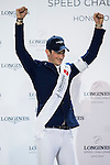 Daniel Deusser of Germany riding Happiness van T Paradijs wins the Longines Speed Challenge, with Pius Scwhizer of Switzerland riding Leonard de la Ferme CH being the first runner-up, and Bertram Allen of Ireland riding Quiet Easy being the second runner-up, during the Longines Masters of Hong Kong 2017 on 11 February 2017 at the AsiaWorld Expo in Hong Kong, China. Photo by Victor Fraile / Power Sport Images