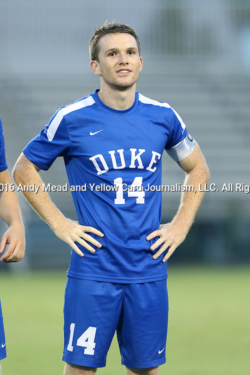 27 September 2016: Duke's Ryan Thompson. The Duke University Blue Devils hosted the Georgia State University Panthers at Koskinen Stadium in Durham, North Carolina in a 2016 NCAA Division I Men's Soccer match. Georgia State won the game 2-1 in two overtimes.