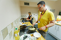 Pictured: Centre workers prepare breakfast for users. Thursday 19 September 2019<br /> Re: Barod Substance Misuse Centre in Swansea, Wales, UK.