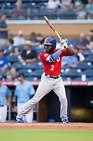 Dwight Smith Jr. (2) of the Buffalo Bisons at bat against the Durham Bulls at Durham Bulls Athletic Park on April 30, 2017 in Durham, North Carolina.  The Bisons defeated the Bulls 6-1.  (Brian Westerholt/Four Seam Images)