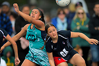 Netball final between Henderson Intermaediate and Whakatane Intermediate. Day six of the 2019 AIMS games at Blake Park in Mount Maunganui, New Zealand on Friday, 13 September 2019. Photo: Dave Lintott / lintottphoto.co.nz