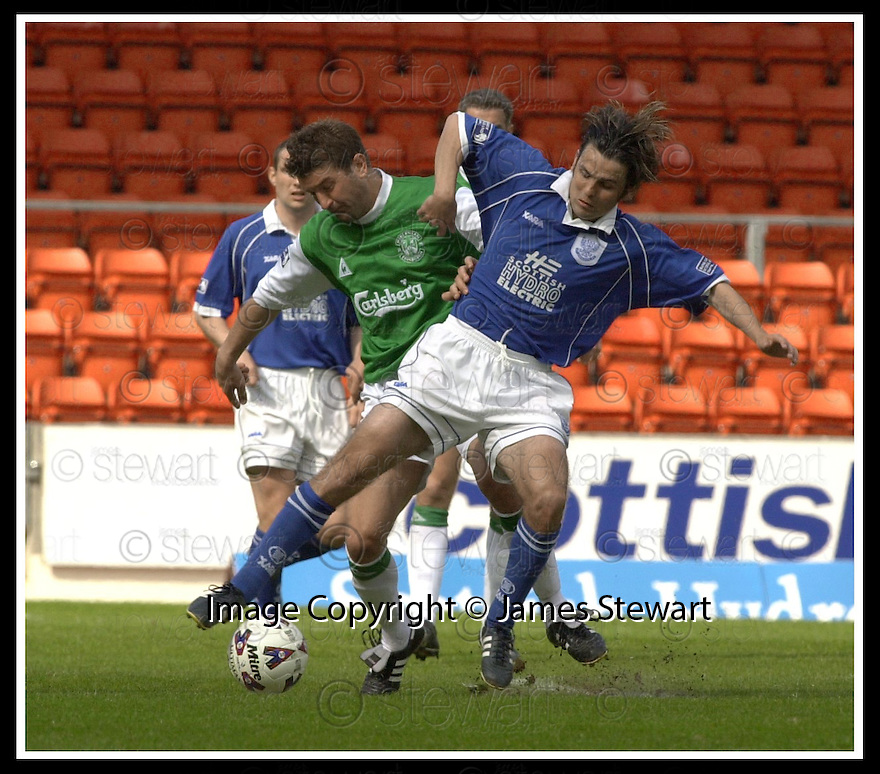 12/05/2002                   Collect Pic : James Stewart.File Name : stewart-st johnstone v hibs 08.CRAIG BREWSTER AND PAUL HARTLEY CHALLENGE FOR THE BALL.....Payments to :-.James Stewart Photo Agency, 19 Carronlea Drive, Falkirk. FK2 8DN      Vat Reg No. 607 6932 25.Office     : +44 (0)1324 570906     .Mobile  : +44 (0)7721 416997.Fax         :  +44 (0)1324 570906.E-mail  :  jim@jspa.co.uk.If you require further information then contact Jim Stewart on any of the numbers above.........