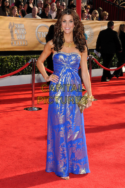 SAMANTHA HARRIS.16th Annual Screen Actors Guild Awards - Arrivals held at The Shrine Auditorium, Los Angeles, California, USA..January 23rd, 2009.SAG SAGs full length blue silver gold pattern print strapless maxi dress hand on hip clutch bag.CAP/ADM/BP.©Byron Purvis/Admedia/Capital Pictures