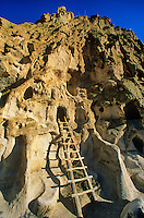 Ladder leads to hand dug cave once inhabited by ancient Puebloan people at Bandelier National Monument, New Mexico, AGPix_0656