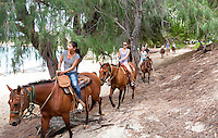 Horseback riding along Gillin's Beach (part of Maha'ulepu Beach), south shore of Kaua'i