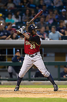 Jose Pirela (28) of the Scranton/Wilkes-Barre RailRiders at bat against the Charlotte Knights at BB&T Ballpark on July 17, 2014 in Charlotte, North Carolina.  The Knights defeated the RailRiders 9-5.  (Brian Westerholt/Four Seam Images)