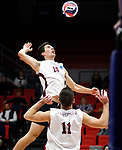 KENOSHA, WI - APRIL 28:  Springfield's Kyle Jasuta goes up for a spike against Stevens Institue at the Division III Men's Volleyball Championship held at the Tarble Athletic and Recreation Center on April 28, 2018 in Kenosha, Wisconsin. (Photo by Steve Woltmann/NCAA Photos via Getty Images)