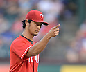 Yu Darvish (Rangers),<br /> JULY 9, 2014 - MLB :<br /> Pitcher Yu Darvish of the Texas Rangers points during the Major League Baseball game against the Houston Astros at Globe Life Park in Arlington in Arlington, Texas, United States. (Photo by AFLO)