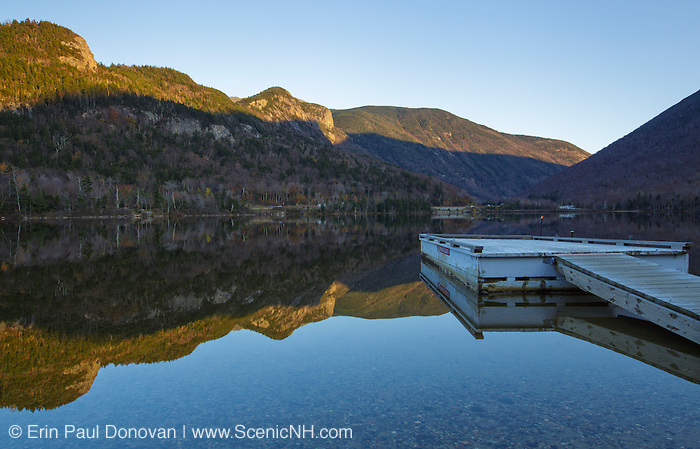 Franconia Notch State Park - Reflection of Eagle Cliff in Echo Lake in the White Mountains, New Hampshire USA during the autumn months.