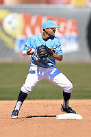 Wilmington Blue Rocks second baseman Jack Lopez (11) attempts a double play during a game against the Myrtle Beach Pelicans on April 27, 2014 at Frawley Stadium in Wilmington, Delaware.  Myrtle Beach defeated Wilmington 5-2.  (Mike Janes/Four Seam Images)