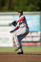 Greenville Drive starting pitcher Jose Almonte (29) in action against the Kannapolis Intimidators at Intimidators Stadium on June 8, 2016 in Kannapolis, North Carolina.  The Intimidators defeated the Drive 3-2.  (Brian Westerholt/Four Seam Images)