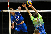 GRONINGEN - Volleybal, Lycurgus - Fino Kaposvar, Challenge Cup, seizoen 2019-2020, 19-12-2019,  smash Lycurgus speler Mitch Perinar