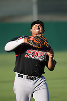 Josh Naylor (32) of the Lake Elsinore Storm plays catch in the outfield before a game against the Lancaster JetHawks at The Hanger on August 2, 2016 in Lancaster, California. Lake Elsinore defeated Lancaster, 10-9. (Larry Goren/Four Seam Images)