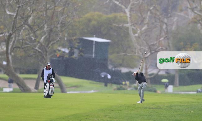 Graeme McDowell (NIR) plays his 2nd shot on the 17th hole during Friday's Round 2 of the 2017 Genesis Open held at The Riviera Country Club, Los Angeles, California, USA. 17th February 2017.<br /> Picture: Eoin Clarke | Golffile<br /> <br /> <br /> All photos usage must carry mandatory copyright credit (&copy; Golffile | Eoin Clarke)
