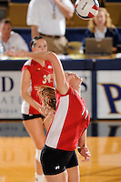 20 November 2008:  Western Kentucky middle hitter Megan Argabright (11) hits a kill shot during the WKU 3-0 victory over Denver in the first round of the Sun Belt Conference Championship tournament at FIU Stadium in Miami, Florida.