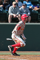 Michael Montville #5 of the Maryland Terrapins bats against the UCLA Bruins at Jackie Robinson Stadium on February 19, 2012 in Los Angeles,California. Maryland defeated UCLA 5-1.(Larry Goren/Four Seam Images)