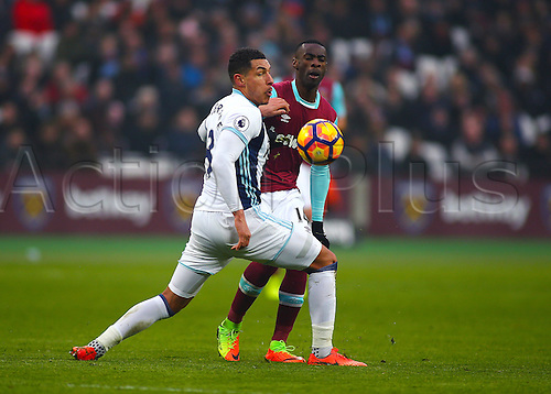 February 11th 2017, London Stadium, London, England, Premier League football, West Ham versus West Bromwich Albion; Pedro Obiang of West Ham is dispossessed by Jake Livermore of West Brom during a West Ham attack