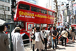 May 5, 2010 - Tokyo, Japan - People queue to ride on a Routemaster bus in Tokyo, Japan on May 5, 2010. The double-decker legend is used during the public holidays called 'Golden Week' as free shuttle between Shibuya and Aoyama for the promotion of the British luxury brand group Vulcanize London.