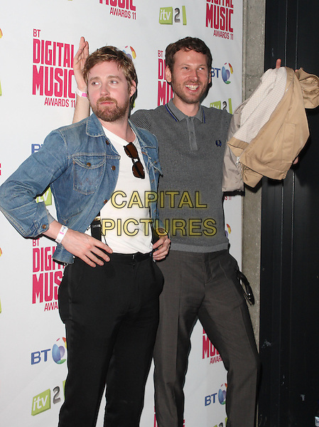 Ricky Wilson & Simon Rix - Kaiser Chiefs.BT Digital Music Awards held at the Roundhouse, Chalk Farm, London, England..September 29th 2011.half length jean denim jacket black jeans beard facial hair .CAP/JIL.©Jill Mayhew/Capital Pictures