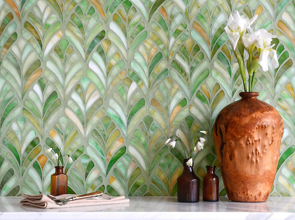 Margot, a handmade mosaic designed by Sara Baldwin for New Ravenna, is shown in Emerald jewel glass.<br />
