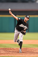 San Antonio Missions pitcher Jesse Hahn (40) delivers a pitch during a game against the Arkansas Travelers on May 24, 2014 at Dickey-Stephens Park in Little Rock, Arkansas.  Arkansas defeated San Antonio 4-2.  (Mike Janes/Four Seam Images)