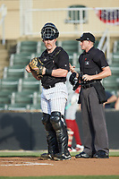 Kannapolis Intimidators catcher Gunnar Troutwine (37) on defense against the Lakewood BlueClaws at Kannapolis Intimidators Stadium on July 18, 2019 in Kannapolis, North Carolina. The Intimidators defeated the BlueClaws 7-1. (Brian Westerholt/Four Seam Images)
