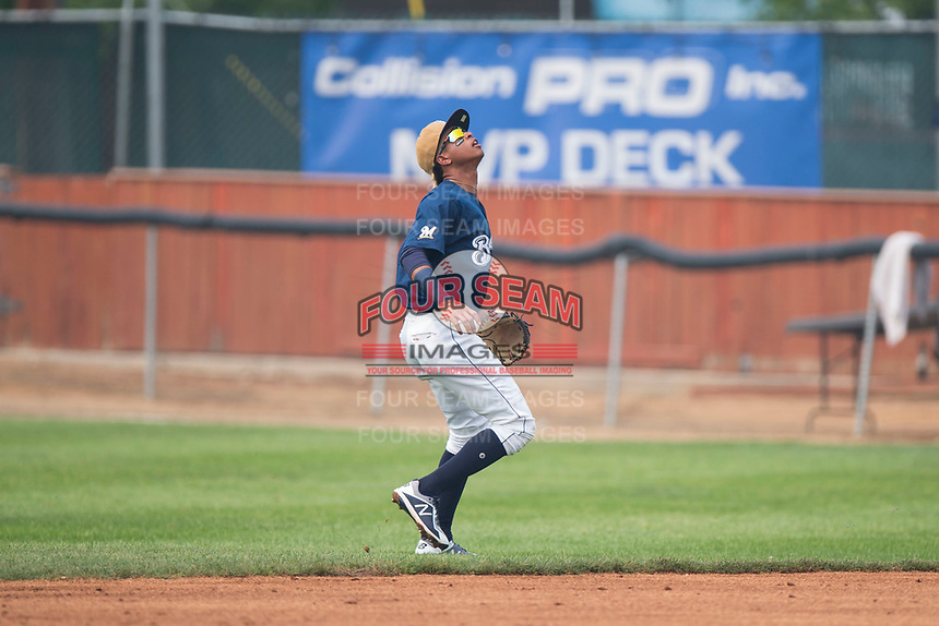 Helena Brewers second baseman Yeison Coca (2) prepares to catch a pop fly during a Pioneer League game against the Grand Junction Rockies at Kindrick Legion Field on August 19, 2018 in Helena, Montana. The Grand Junction Rockies defeated the Helena Brewers by a score of 6-1. (Zachary Lucy/Four Seam Images)