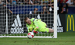 England's Jordan Pickford saves a penalty during the UEFA Under 21 Semi Final at the Stadion Miejski Tychy in Tychy. Picture date 27th June 2017. Picture credit should read: David Klein/Sportimage