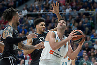Real Madrid Felipe Reyes and Brose Bamberg Daniel Hackett and Augustine Rubit during Turkish Airlines Euroleague match between Real Madrid and Brose Bamberg at Wizink Center in Madrid, Spain. April 06, 2018. (ALTERPHOTOS/Borja B.Hojas) /NortePhoto.com