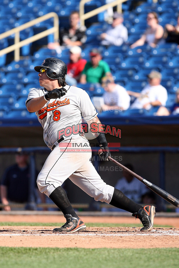 June 11th 2008:  Catcher Victor Castillo of the Delmarva Shorebirds, Class-A affiliate of the Baltimore Orioles, during a game at Classic Park in Eastlake, OH.  Photo by:  Mike Janes/Four Seam Images