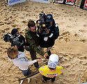 Taj Burrows getting interviewed during the Quiksilver Pro in Hossegor, France.