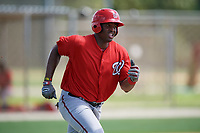 GCL Nationals first baseman Jamori Blash (30) runs to first base during the first game of a doubleheader against the GCL Marlins on July 23, 2017 at Roger Dean Stadium Complex in Jupiter, Florida.  GCL Nationals defeated the GCL Marlins 4-0.  (Mike Janes/Four Seam Images)