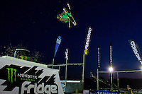 Elvis Harsheim from Norway performs his trick during the freestyle skiing competition held on the 35 meters high artificial ski jumping ramp on the Monster Energy Fridge Festival in central Budapest, Hungary on November 12, 2011. ATTILA VOLGYI