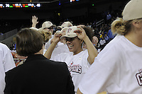 March 14, 2010.  Roslyn Gold-Onwude celebrates with Head Coach Tara VanDerveer after the Stanford Cardinal beat the UCLA Bruins to win the 2010 Pac-10 Tournament.