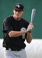 Outfielder Dusty Harvard (21) of the Bristol White Sox, Appalachian League affiliate of the Chicago White Sox, prior to a game against the Elizabethton Twins on August 18, 2011, at Joe O'Brien Field in Elizabethton, Tennessee. Elizabethton defeated Bristol, 13-3. (Tom Priddy/Four Seam Images)