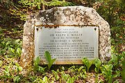 Memorial for Dr. Ralph E. Miller and Dr. Robert E. Quinn in the Thoreau Falls valley of the Pemigewasset Wilderness in Lincoln, New Hampshire. The doctors successfully crash landed their plane on February 21, 1959 in this location along the abandoned railroad bed of the East Branch & Lincoln Railroad. They survived for four days before dying of exposure.
