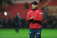 Head Coach Wayne Pivac  of Scarlets during the pre match warm up for the Guinness Pro14 Round 09 match between the Scarlets and Ulster Rugby at the Parc Y Scarlets Stadium in Llanelli, Wales, UK. Friday 23 November 2018