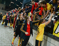 20181009 – BIEL BIENNE , SWITZERLAND : Belgian players with Julie Biesmans , Diede Lemey and Tessa Wullaert pictured thanking the fans after  the female soccer game between Switzerland and the Belgian Red Flames , the second leg in the semi finals play offs for qualification for the World Championship in France 2019 ; the first leg ended in equality 2-2 ;  Tuesday 9 th october 2018 at The Tissot Arena  in BIEL BIENNE , Switzerland . PHOTO SPORTPIX.BE | DAVID CATRY