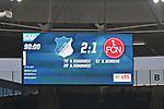10.03.2019, Prezero-Arena, Sinsheim, GER, 1 FBL, TSG 1899 Hoffenheim vs 1. FC Nuernberg, <br /> <br /> DFL REGULATIONS PROHIBIT ANY USE OF PHOTOGRAPHS AS IMAGE SEQUENCES AND/OR QUASI-VIDEO.<br /> <br /> im Bild: Endstand / Endergebnis / Anzeigetafel / Feature<br /> <br /> Foto &copy; nordphoto / Fabisch