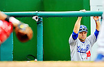 8 September 2011: Los Angeles Dodgers infielder Jamey Carroll watches play from the photographers' well during a game against the Washington Nationals at Nationals Park in Washington, DC. The Dodgers defeated the Nationals 7-4 to take the third game of their 4-game series. Mandatory Credit: Ed Wolfstein Photo