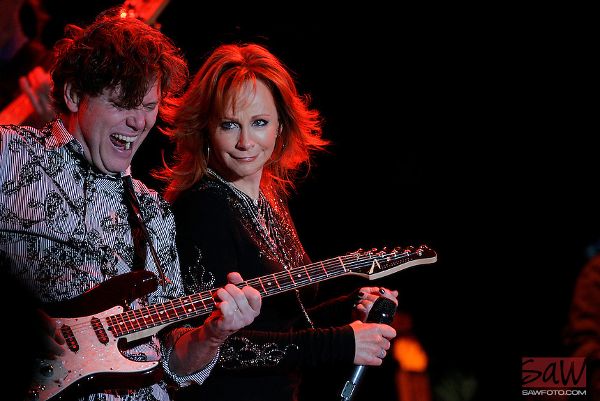 COACHELLA,CA - APRIL 25,2009: Reba McEntire, right, the Grammy Award-winning singer performing at Stagecoach country music festival in Indio April 25, 2009.