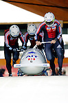 20 November 2005: Pierre Lueders leads the Canada 1 sled pushoff in the first run of the 2005 FIBT AIT World Cup Men's 4-Man Bobsleigh Tour, piloting the team to a 9th place finish at the Verizon Sports Complex, in Lake Placid, NY. Mandatory Photo Credit: Ed Wolfstein.